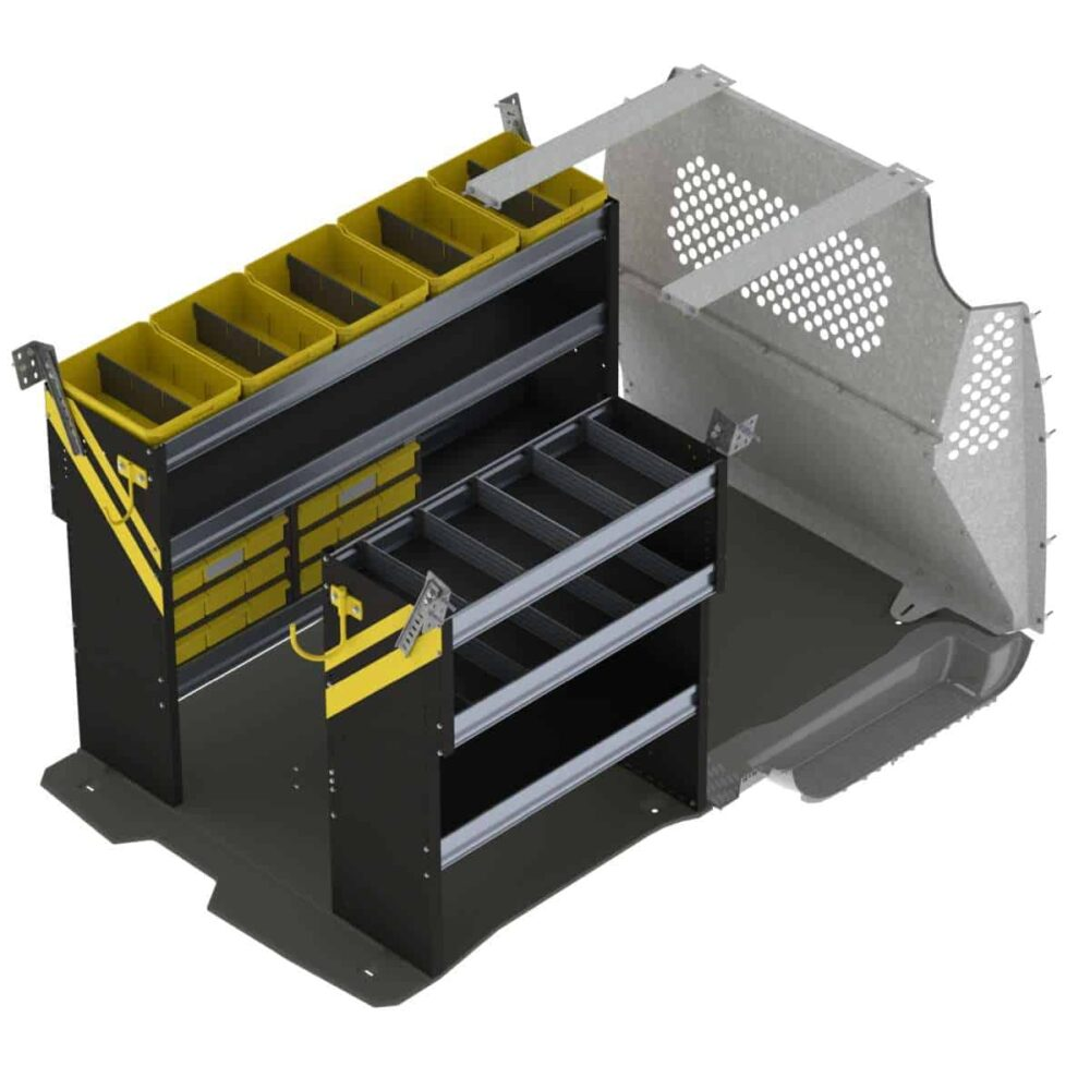 Electrician Van Shelving Package, Ford Transit Connect Long Wheel Base – TCL-11